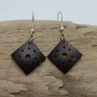 Coconut Shell Earrings on Sterling Silver Hooks Hand Carved by Tibetan Artist