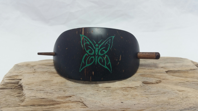 Hand Carved Hair Barrette Butterfly Coconut Shell Inlay Crushed Malachite