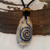 Shell Necklace Tiger Eye Bead Engraved with Crushed Lapis Lazuli