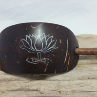 Tibetan Lotus Hair Barrette Hand Carved Coconut Shell Inlay Pearl Tibetan Artist