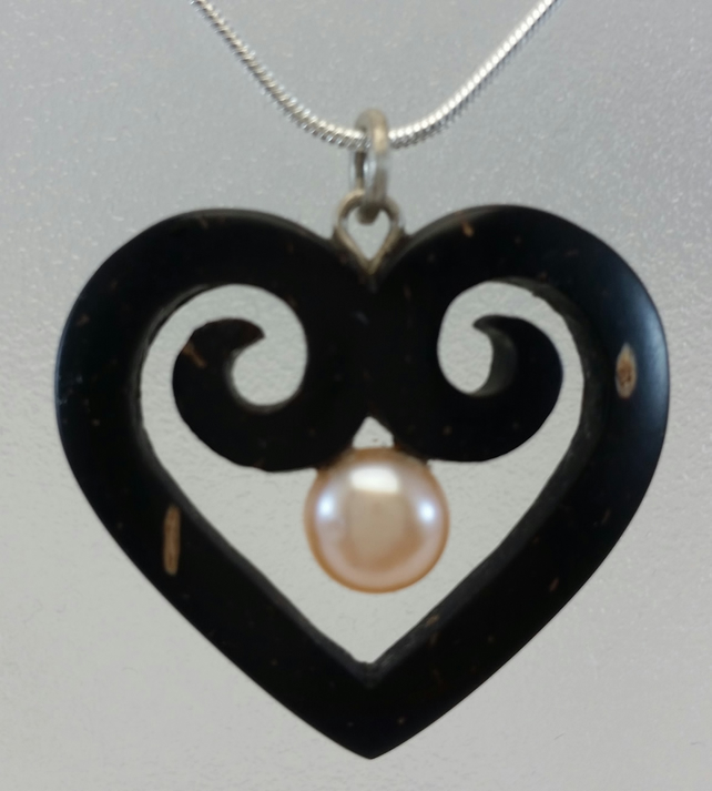 Love Heart Necklace Hand Carved Coconut Shell and Pearl by a Tibetan Artist