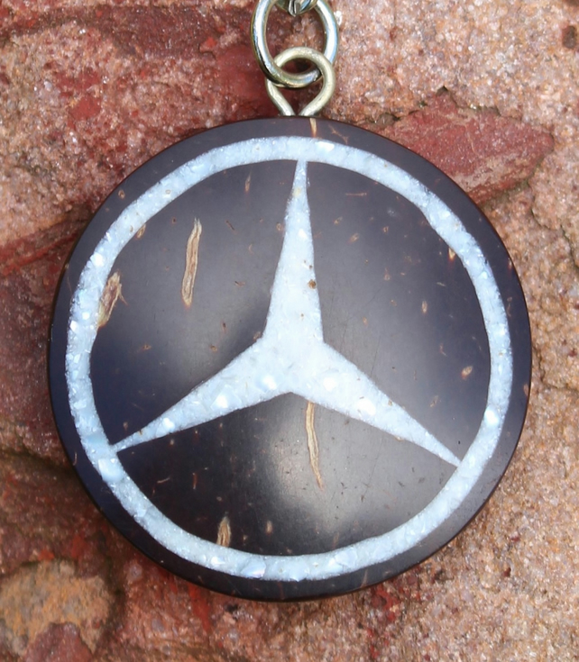 Mercedes Keyring Hand Carved Coconut Shell Inlay Crushed Pearl Tibetan Artist