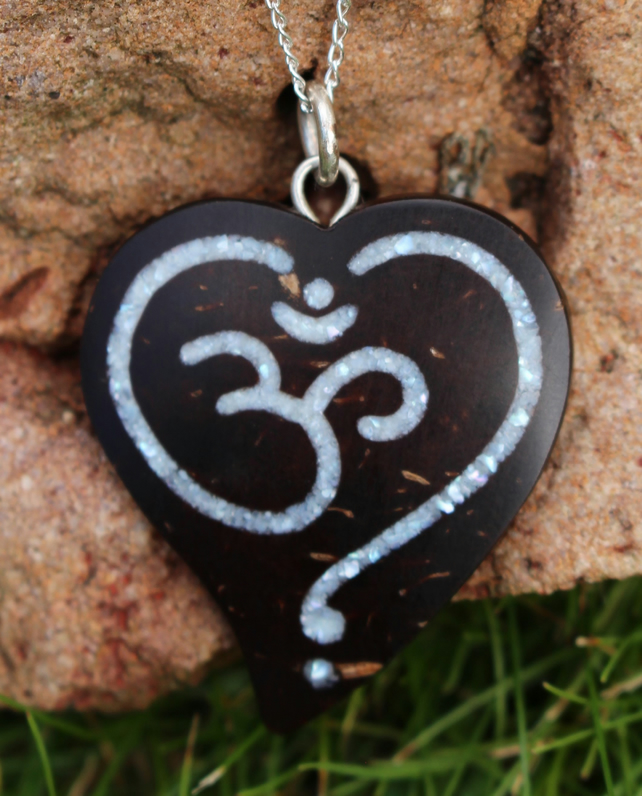 Hindi Ohm Love Heart Necklace Coconut Shell and Crushed Pearl Tibetan Artist