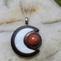 Half Moon & Sun Necklace Hand Carved Coconut Shell, Sea Shell,  Sand Stone