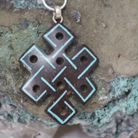 Tibetan Endless Knot Necklace Hand Carved Coconut Shell by Tibetan Artist