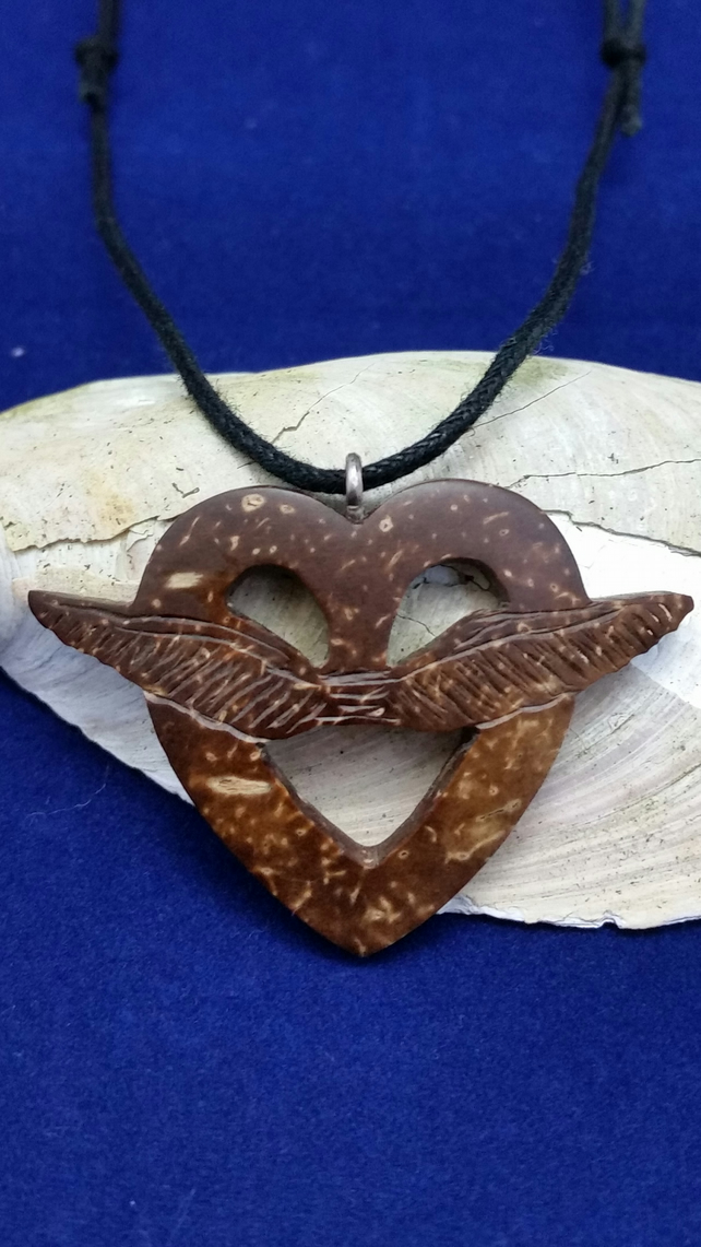 Love Heart Hand Carved Necklace Coconut Shell Recycled Upcycled