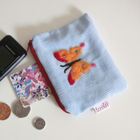 Needle Felted Butterfly Coin Purse