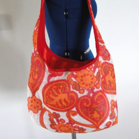 Retro funky soulder tote bag orange and red