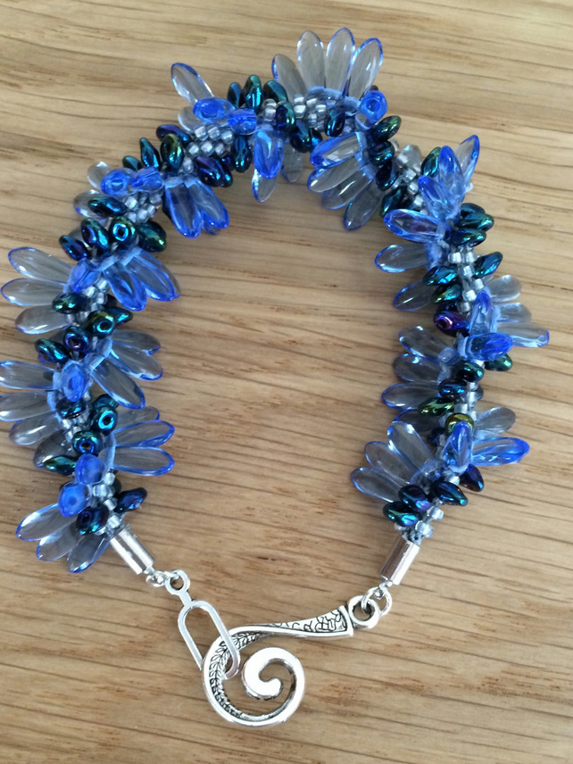 kumihimo Braided Bracelet Blues & Silver