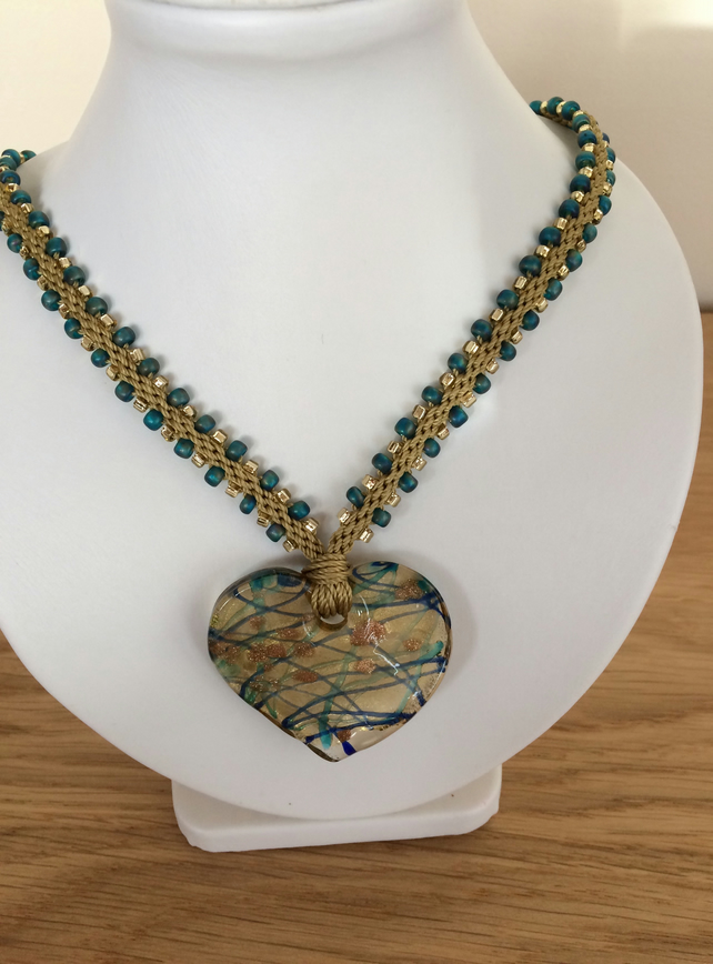 Kumihimo Braided Necklace with Glass Heart Pendant in Gold and Teal