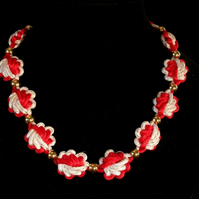 Red & white Chinese Knotted Necklace