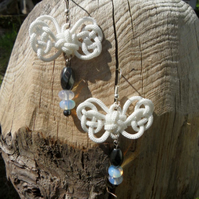Summer Love, Knotted Butterfly with Moonstone and Haemate beads