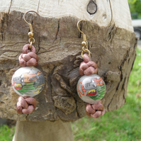 Dragon Knot, Button Knots with Glass painted on the inside beads