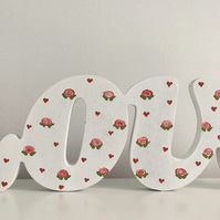 Hand Painted Wooden 'Love' - Off-white with Roses & Hearts