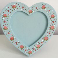 Hand Painted Heart-Shaped Photo Frame - Duck-Egg Blue & Roses