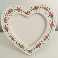 Hand Painted Heart-Shaped Photo Frame - Off-White & Roses