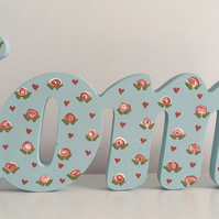 Hand Painted Wooden 'Home' - Duck-Egg Blue with Roses & Hearts