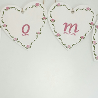 'Home' Hand Painted Wooden Hearts Bunting