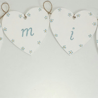'Family' Hand Painted Wooden Hearts Bunting