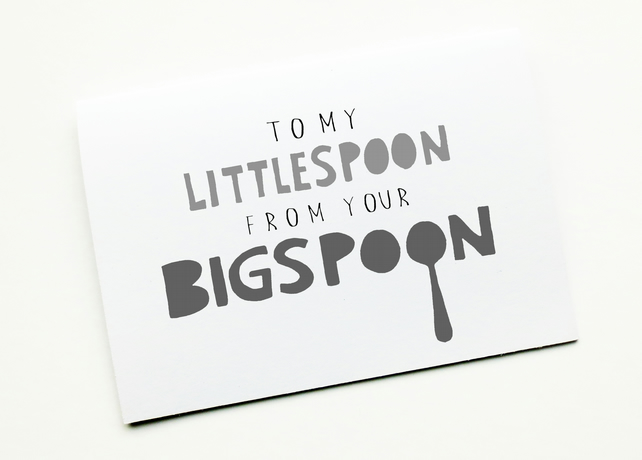 Cute Anniversary Card, Birthday Card, To My Littlespoon From Your Bigspoon