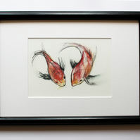 Koi Carp Watercolour and Ink Framed Print