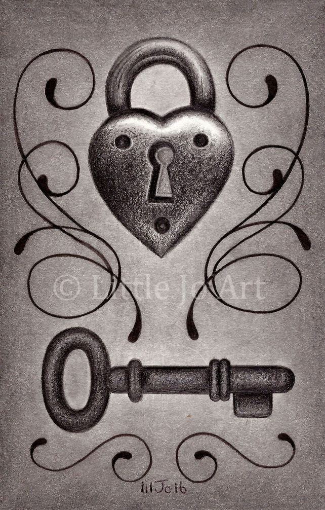 Padlock and Key Original Pencil Drawing