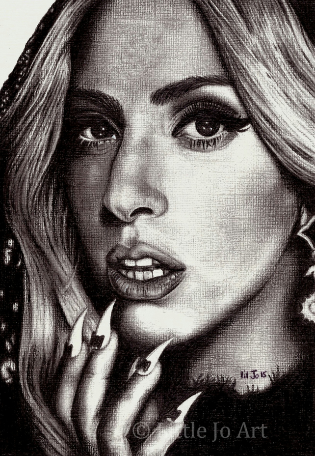 Lady Gaga Pencil Portrait Drawing