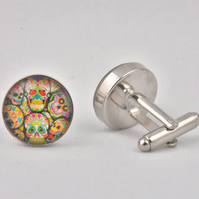 Skull Collage Funky Colourful Cufflinks