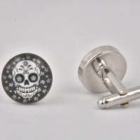 Skull White Flowers Cufflinks
