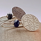 Sterling Silver and Sapphire Textured Leaf Design Drop Earrings