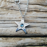 Sterling Silver and London Blue Topaz Textured Star Pendant