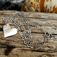 Sterling Silver Reversible Heart Pendant