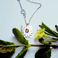 Sterling Silver and Citrine Daisy Pendant
