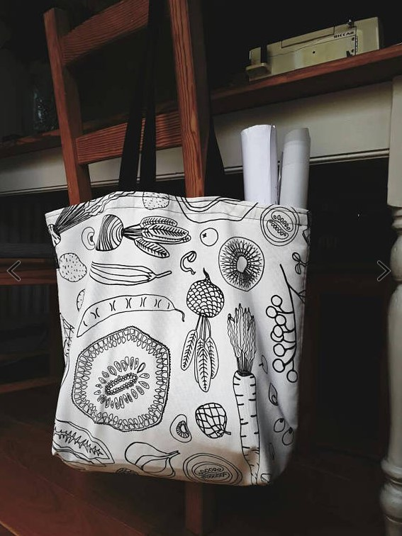 Shopping bag - tote bag - canvas bag - canvas tote - zero waste - 100% cotton