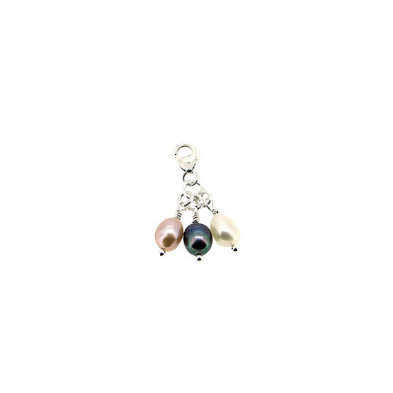 Sterling Silver and Triple Freshwater Pearl Clip-On Charm