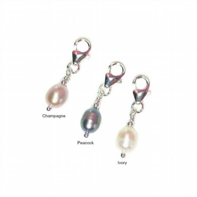 Sterling Silver and Freshwater Pearl Clip-On Charm