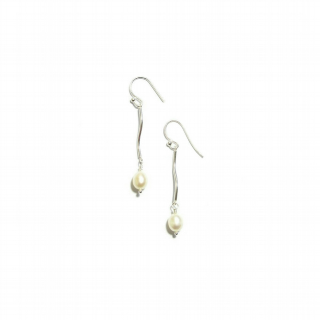 Sterling Silver tube and Freshwater Pearl Drop Earrings - choice of colours