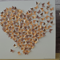 3d Butterfly Heart in Rose Golds