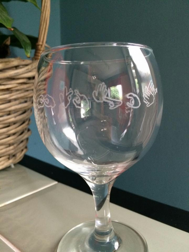 Sign Language Wine Glass (BSL)