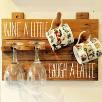 Wine a little Laugh a Latte board Mugs and Glasses
