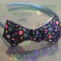 Navy Flowered Bow Alice Band