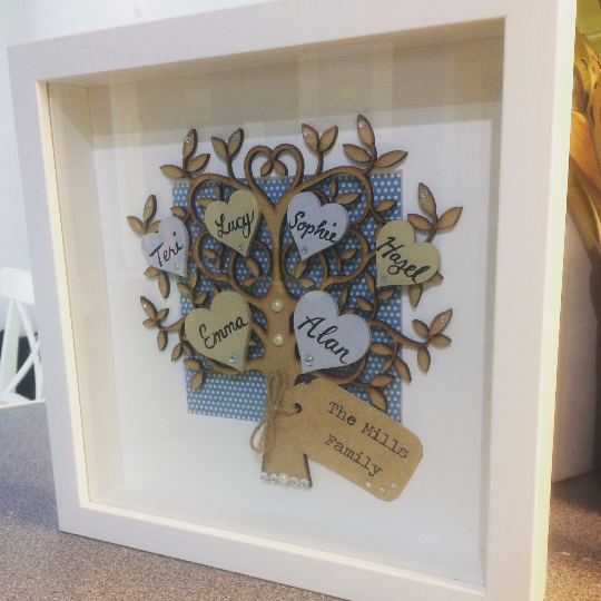 Handmade Personalised Family Tree Frame, Free Postage, Personalised Tree Art