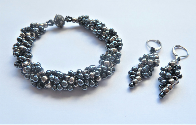 Gunmetal Drop Spiral Bracelet & Earring set,Gift for her