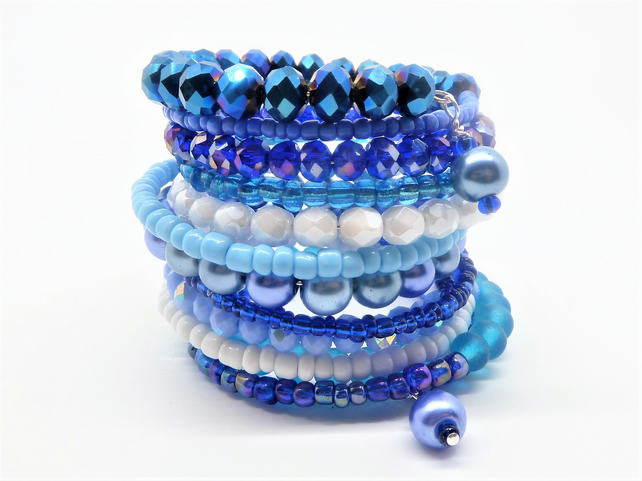 Caribbean Blue Glass Bead Multi Wrap Layered Bracelet