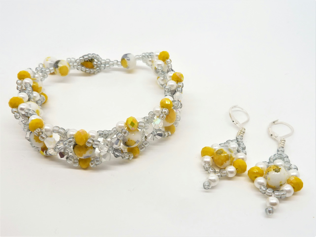 Sunshine Yellow Bracelet & Earring Jewellery Set ,Gift for her