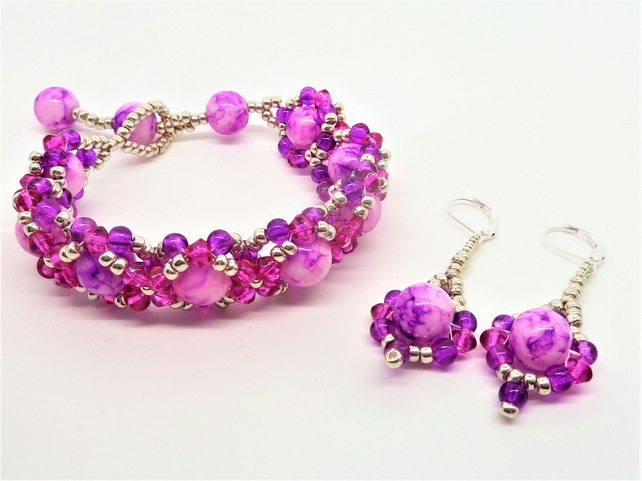 Pink Lovers Beaded Bracelet & Earring Set, Gift for her, Bridesmaid,