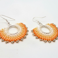 Orange  Ombre Hand Stitched Earrings