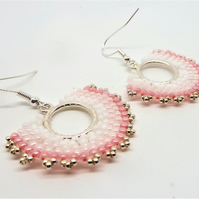 Pink Ombre Hand Stitched Earrings