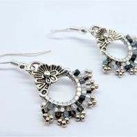 Monochrome Hand Stitched Earrings