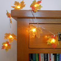 2m 20 LED Golden Autumn Leaves Fairy Lights String Lights - Wedding Decorations